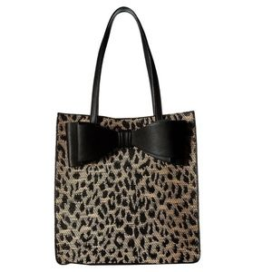 Betsey Johnson LEOPARD BLACK BOW TOTE